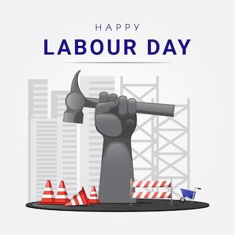 Happy labour day statue with construction elements