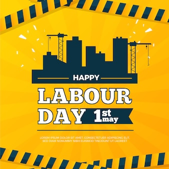Happy labour day with buildings
