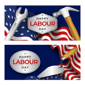 Happy labour day with tools banner