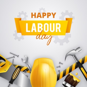 Happy labour day with yellow helmet and tools