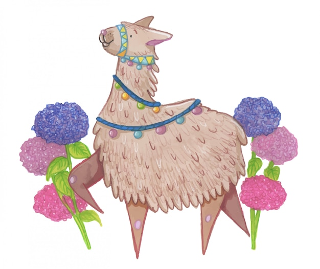Happy lama with flowers illustration