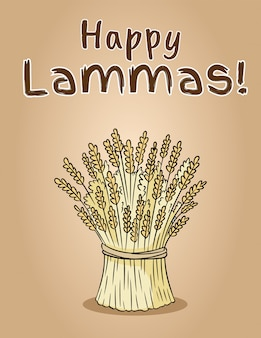 Happy lammas. sheaf of wheat. hay bundle