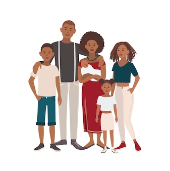 행복 한 큰 흑인 가족 초상화입니다. 아버지, 어머니, 아들과 딸이 함께. 평면 디자인의 벡터 일러스트 레이 션.