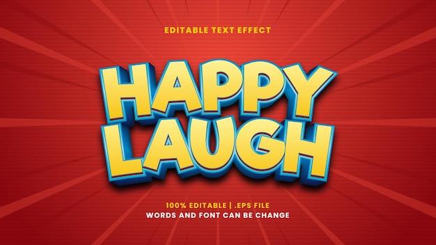 현대적인 3d 스타일의 행복한 웃음 편집 가능한 텍스트 효과
