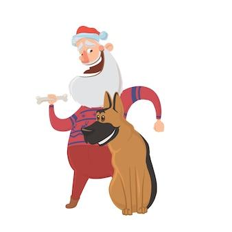 幸せな笑いサンタクロースと犬。東暦による戌年の年賀状の文字。 、白い背景で隔離。