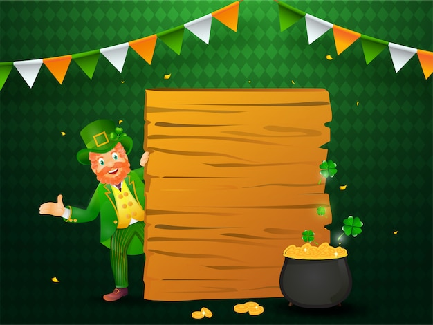 Happy leprechaun man character with empty wooden board and golden coins pot on green abstract pattern .