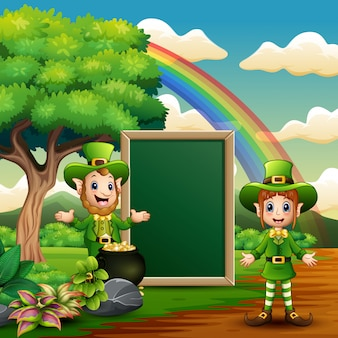 Happy leprechauns holding a blank board