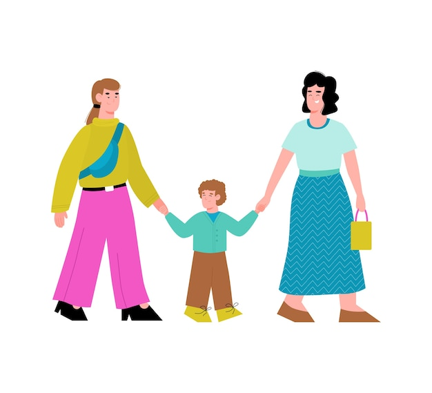 Happy lesbian same-sex couple walk with kid boy a isolated illustration