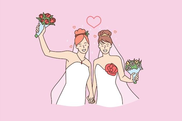 행복 한 레즈비언 여자 커플 결혼