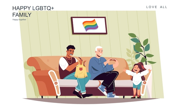 Happy lgbt family concept male fathers take care of little daughter at home
