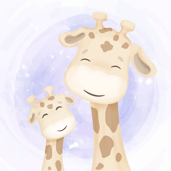 Happy life of giraffe family