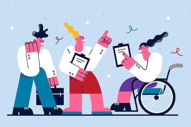 행복한 라이프 스타일과 장애인 개념의 작업