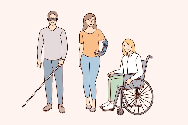 Happy lifestyle of disabled people concept