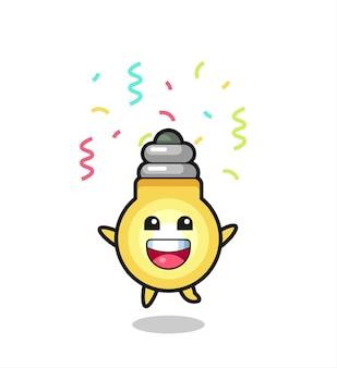 色の紙吹雪、tシャツ、ステッカー、ロゴ要素のかわいいスタイルのデザインでおめでとうのためにジャンプする幸せな電球のマスコット