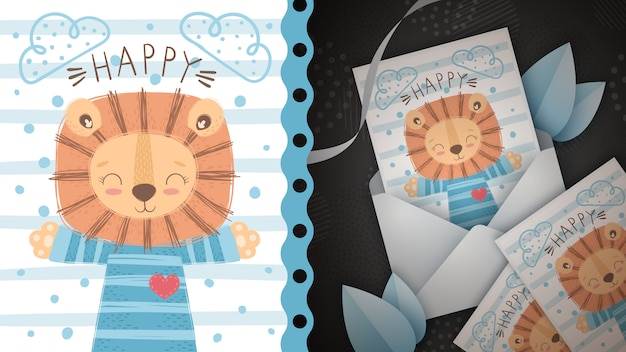 Happy lion idea for greeting card