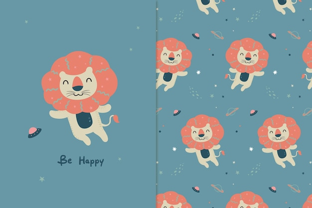 Happy lion illustration and pattern