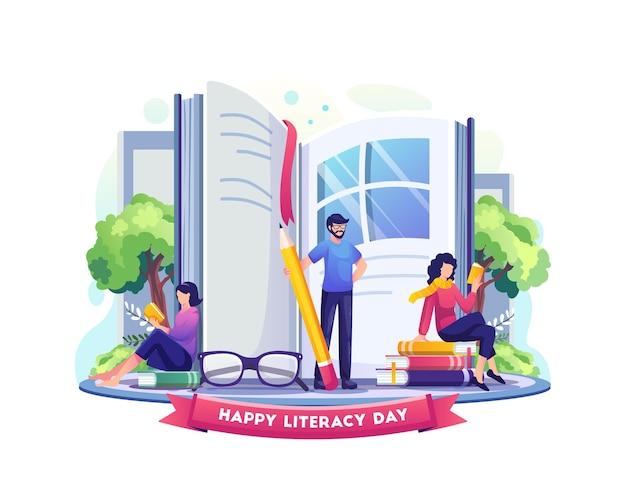 행복한 문맹 퇴치의 날 사람들은 책을 세계 삽화의 창으로 사용하여 문맹 퇴치의 날을 축하합니다