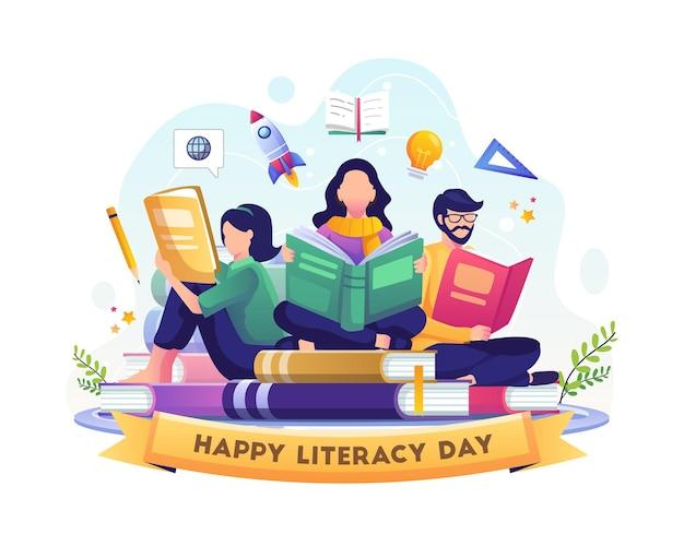 행복한 문맹 퇴치의 날 젊은이들은 책 삽화를 읽고 문맹 퇴치의 날을 축하합니다