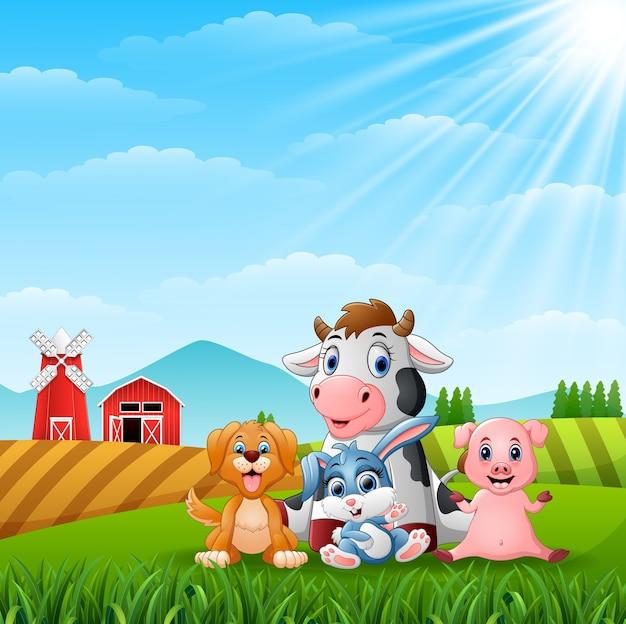 丘で幸せな小さな動物農場