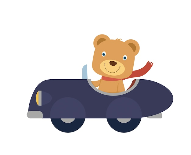 Happy little bear riding a blue car