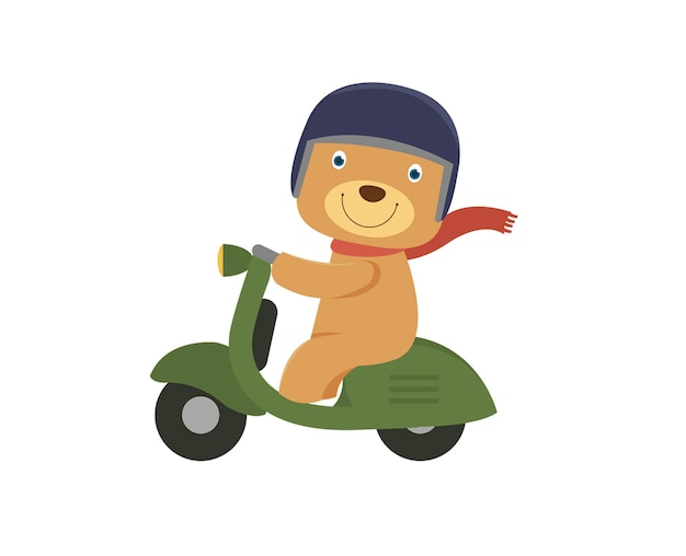 Happy little bear riding a green scooter