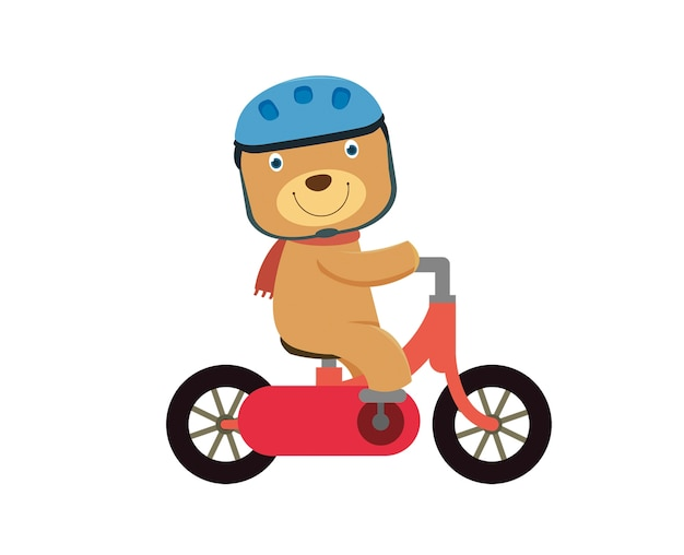 Happy little bear riding a red bike