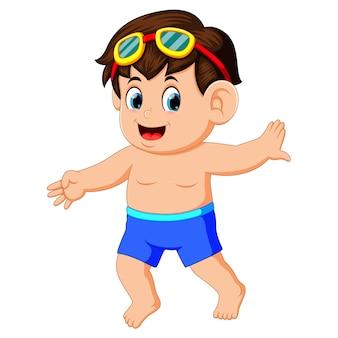Happy little boy in swimsuit