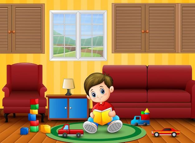 Счастливые маленькие мальчики учатся и играют в комнате Premium векторы