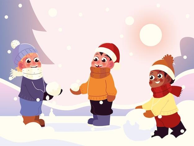 雪玉で遊ぶ暖かい服を着た幸せな男の子、冬のシーンのイラスト