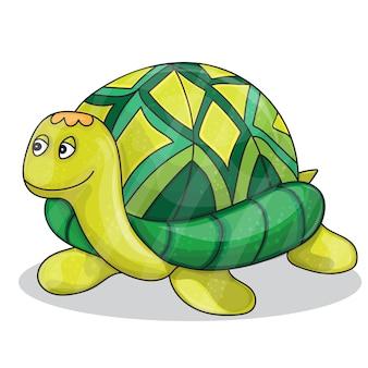 행복 한 작은 만화 거북이 웃는 벡터 일러스트 레이 션