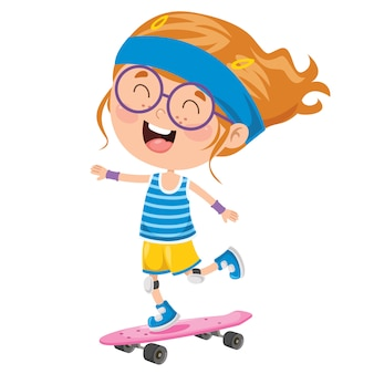 Happy little child skateboarding outside