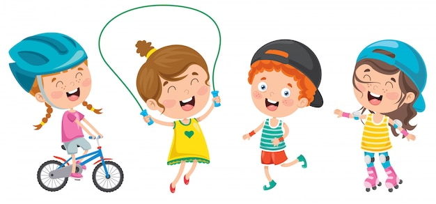 Happy little children doing sport