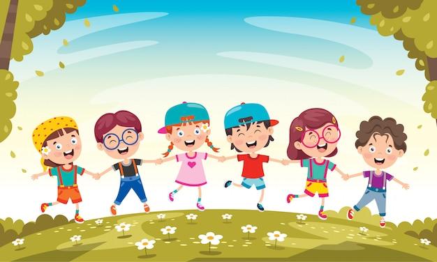 幸せな小さな子供たちが楽しんで