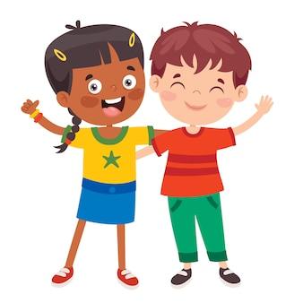 Счастливые маленькие дети веселятся
