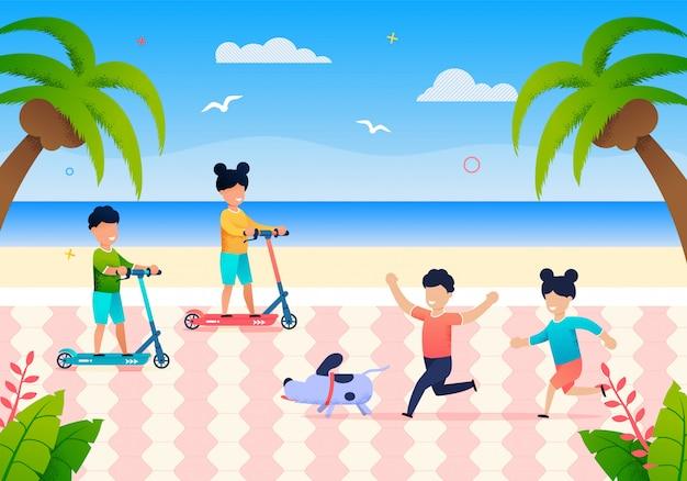 Happy little children play on beach on summer day