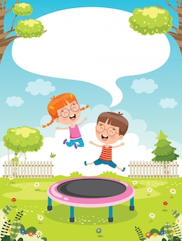 Happy little children playing trampoline