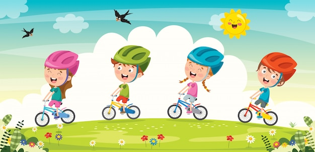 Happy little children riding bicycle on a hill