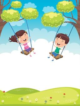 Happy little children swinging at tree