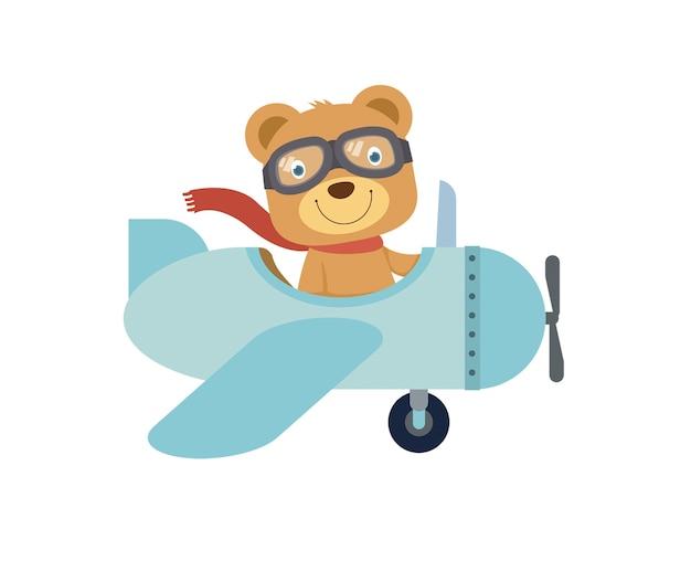 青い飛行機に乗っている幸せな小さなかわいいテディベア