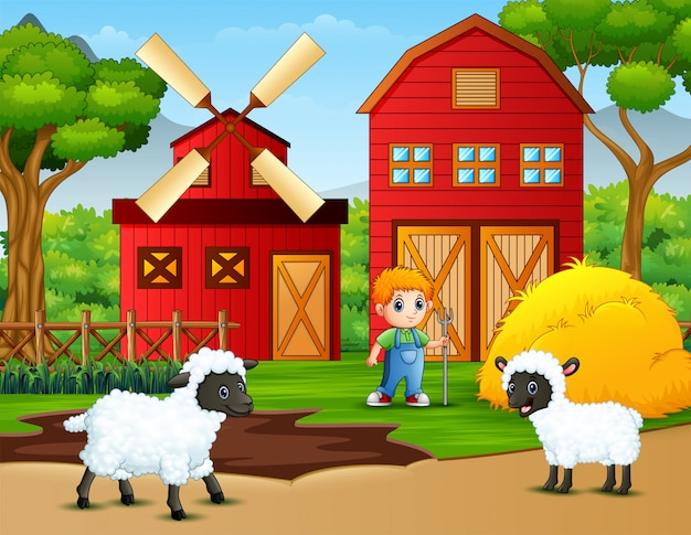 Happy little farmer and sheeps in the farm