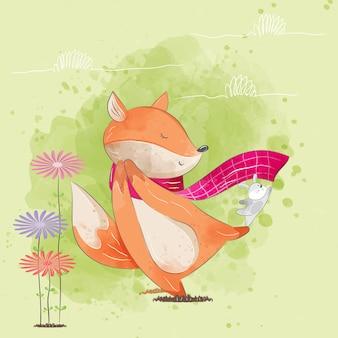 핑크 스카프와 함께 행복 한 작은 여우
