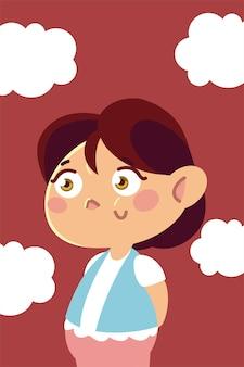 Счастливая маленькая девочка персонаж мультфильма, детская иллюстрация
