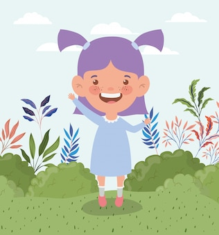 Happy little girl in the field landscape