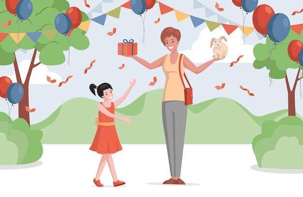 Счастливая маленькая девочка в платье, празднующем день рождения на открытом воздухе в украшенном парке или лесной плоской иллюстрации.