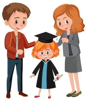 Счастливая маленькая девочка в выпускном костюме со своими родителями