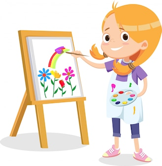 Счастливая маленькая девочка рисует на холсте