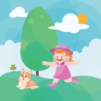 幸せな少女は公園で遊ぶ