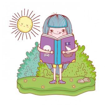 Happy little girl reading book with sun kawaii