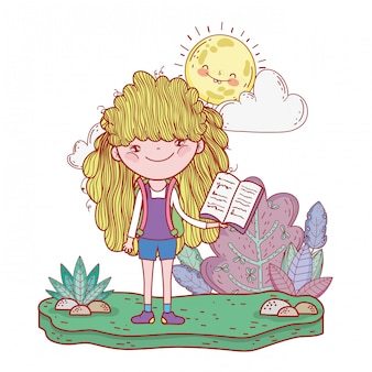 Happy little girl reading book with sun kawaii
