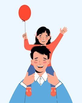 Happy little girl sits on her father's shoulders. concept of a friendly family.